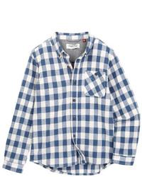 Camisa de manga larga de cuadro vichy en blanco y azul marino