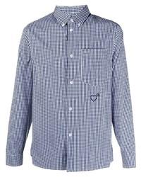 Camisa de manga larga de cuadro vichy en blanco y azul marino de adidas