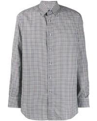 Camisa de manga larga de cuadro vichy en blanco y azul marino de Brioni
