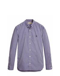 Camisa de manga larga de cuadro vichy en blanco y azul marino de Burberry