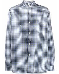 Camisa de manga larga de cuadro vichy en blanco y azul marino de Junya Watanabe MAN