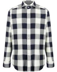 Camisa de manga larga de cuadro vichy en blanco y azul marino de Tagliatore