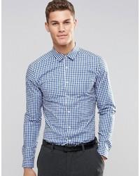 Camisa de Manga Larga de Cuadro Vichy en Blanco y Azul de Asos