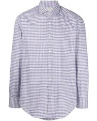 Camisa de manga larga de cuadro vichy en blanco y azul de Brunello Cucinelli