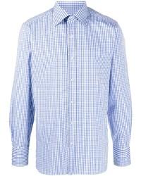 Camisa de manga larga de cuadro vichy en blanco y azul de Tom Ford