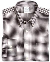 Camisa de manga larga de cuadro vichy en blanco y marrón