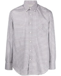 Camisa de manga larga de cuadro vichy en blanco y marrón de Brunello Cucinelli
