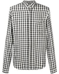 Camisa de manga larga de cuadro vichy en blanco y negro de Ami Paris