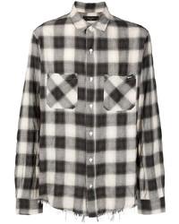 Camisa de manga larga de cuadro vichy en blanco y negro de Amiri