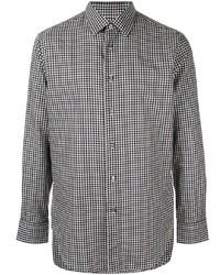 Camisa de manga larga de cuadro vichy en blanco y negro de Brioni