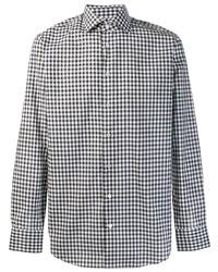 Camisa de manga larga de cuadro vichy en blanco y negro de Etro