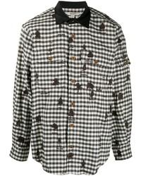 Camisa de manga larga de cuadro vichy en blanco y negro de Phipps
