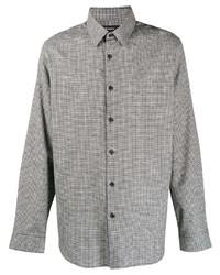 Camisa de manga larga de cuadro vichy en blanco y negro de Theory