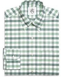 Camisa de manga larga de cuadro vichy en blanco y verde