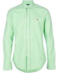 d27a6a934 ... Camisa de manga larga de cuadro vichy en blanco y verde de Polo Ralph  Lauren