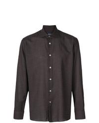 Camisa de manga larga de cuadro vichy en marrón oscuro de Borriello