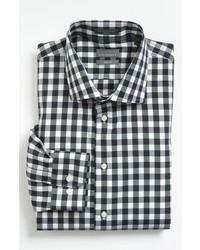 Camisa de manga larga de cuadro vichy en negro y blanco