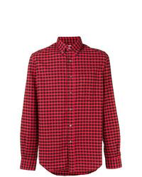 Camisa de manga larga de cuadro vichy en rojo y negro de Aspesi