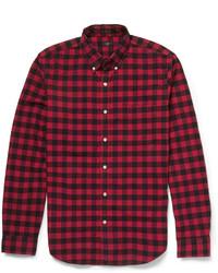 Camisa de manga larga de cuadro vichy en rojo y negro de J.Crew