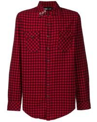 Camisa de manga larga de cuadro vichy en rojo y negro de Vision Of Super