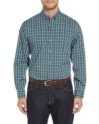 Camisa de manga larga de cuadro vichy en verde azulado