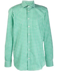 Camisa de manga larga de cuadro vichy en verde menta de Etro