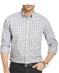 Camisa de manga larga de cuadro vichy gris