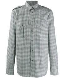 Camisa de manga larga de cuadro vichy gris de Givenchy