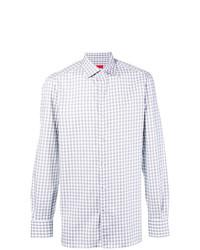 Camisa de manga larga de cuadro vichy gris de Isaia