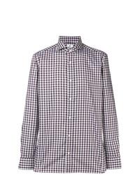 Camisa de manga larga de cuadro vichy marrón de Borrelli