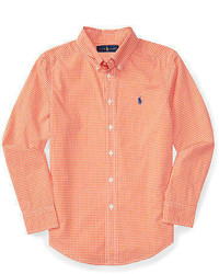 Camisa de Manga Larga de Cuadro Vichy Naranja