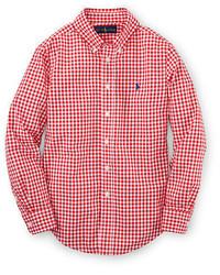 Camisa de manga larga de cuadro vichy roja