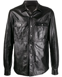 Camisa de manga larga de cuero negra de Rick Owens