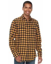 Camisa de manga larga de franela a cuadros amarilla