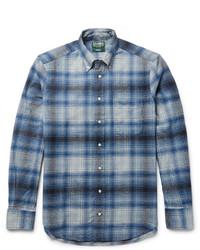 Camisa de manga larga de franela a cuadros azul
