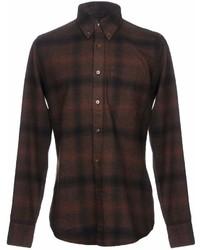 Camisa de manga larga de franela a cuadros en marrón oscuro