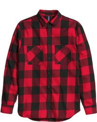 Camisa de manga larga de franela a cuadros en rojo y negro
