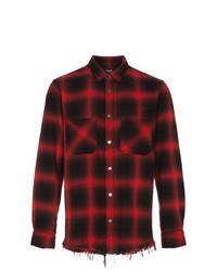 Camisa de manga larga de franela a cuadros en rojo y negro de Amiri