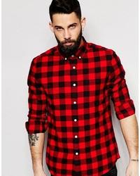 Camisa de manga larga de franela a cuadros en rojo y negro de Asos