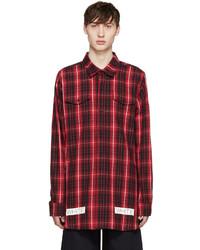 Camisa de manga larga de franela a cuadros en rojo y negro de Off-White