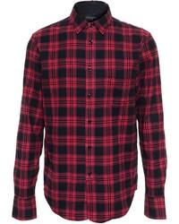 Camisa de manga larga de franela a cuadros en rojo y negro de Rag and Bone