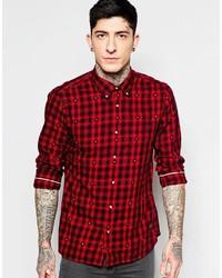 Camisa de manga larga de franela a cuadros en rojo y negro de Scotch & Soda