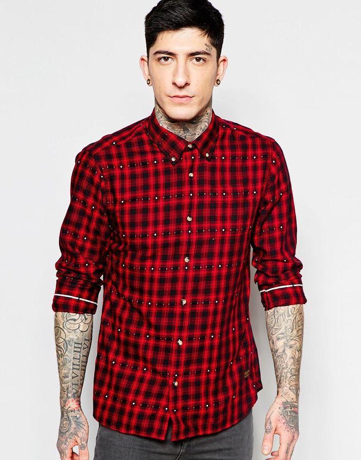 dd0bb9933 ... Camisa de manga larga de franela a cuadros en rojo y negro de Scotch ...