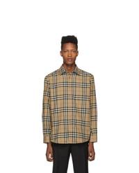 Camisa de manga larga de franela a cuadros marrón claro de Burberry