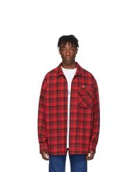 Camisa de manga larga de franela a cuadros roja de Off-White