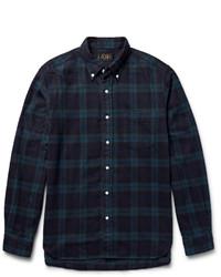 Camisa de manga larga de franela a cuadros verde oscuro