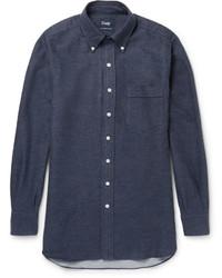 Camisa de manga larga de franela azul marino de Drakes