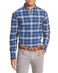 Camisa de manga larga de franela azul