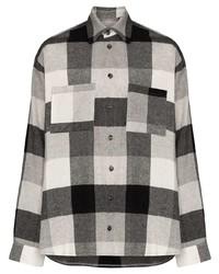 Camisa de manga larga de franela de cuadro vichy gris de DUOltd