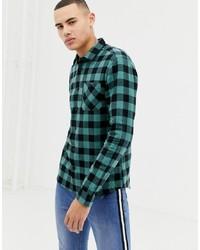 Camisa de manga larga de franela de cuadro vichy verde oscuro